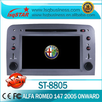 Hot selling dual zone touch screen Car audio for Alfa Romeo 147:2005 Onwards/GT:2007 Onwards with GPS/Ipod/BT/PIP/SWC/ATV/Radio