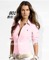 2013 women's polo shirts, long sleeve cotton, fashion style shirt women polo brand slim shirt formal multiple colors ralphly