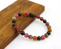 100% Natural Crystal bracelet, Tourmaline 7MM Bead / Elastic rope chain / Quality / Good luck, Ladies Fashion Bracelets