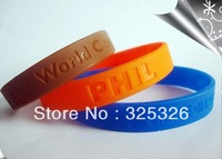 formulates silicone rubber Cool ID Bracelets family reunions awareness charity promotion debossed orange silicone  bracelet