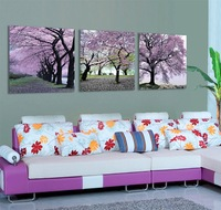 3 Panel Modern  Painting Home Decorative Art Picture Paint on Canvas Prints Purple tree