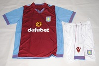 new Free Shipping high quality 2014 13 14 Aston villa home Soccer  Jersey  Soccer Shirt.