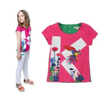 New arrival fashion girl's summer t-shirt kid's cotton tops for 3-10years child girl's flower print clothing free shipping