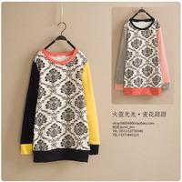 Women's white and black flower color block decoration o-neck plus velvet pullover sweatshirt basic shirt  Cartoon print loose