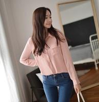2014 top long-sleeve large lapel women's chiffon shirt basic shirt sun protection clothing casual plus size shirt