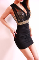 2013 New Arrival Evening Club Sexy Women Dress Black Slim Package Hip Sleeveless Knee length Mini Dresses