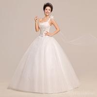 2014 New Arrival One Shoulder Floor Length Chiffon Bridal Wedding Party Dresses HS509