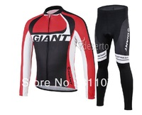 2014 Giant Team Cycling Winter Thermal Fleece Jersey Long Sleeve And Pants Road Bicycle Windproof Jacket  Ciclismo Clothing Men
