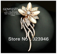 New arrival 18k rose gold plated opal flower Romantic Austria SWA Rhinestone Fashion brooch brand high quality F.Vogue jewelry