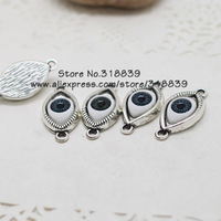 20pcs/lot 15*30mm Antique Silver Plated Alloy Inlay Black Eyeball Jewelry Connectors for Bracelets 7025b