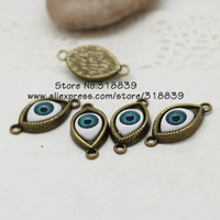 20pcs/lot 15*30mm Antique Bronze Alloy Inlay Green Eyeball Connectors for Bracelets Jewelry Charm Connectors 7023a