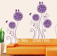 Free ship Romantic decoration flower TV sofa background wall the third generation wall stickers purple bouquet