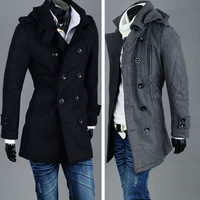 Quality woolen male thickening outerwear slim double breasted with a hood wool coat autumn and winter overcoat c050