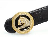 mens women gold ALL diamond leopard duckle belt LUXURY  Brand Europ style BUSINESS GOLD quality HOT SALE COWSKIN Retail wolesale