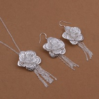 Hot Christmas gift S440 Free Shipping,wholesale 925 rose silver jewelry set,fashion jewelry for women factory prices