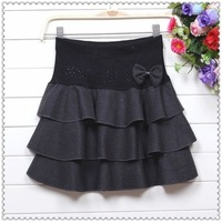 2013 new fashion winter women's high waist Korean woolen slim ball gown skirts puff skirt with bow for women