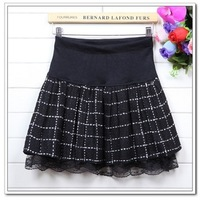 2013 fashion autumn women's slim plaid pleated skirt Korean woolen puff lace skirts for women and girls