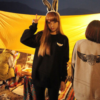 free shipping 2013 autumn ulzzang hellokiki wings flying wing loose sweatshirt 8525  women sweater shirt