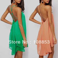 2014 New Fashion Backless Bandage Spaghetti Strap Dress Hollow Out Sleeveless Chiffon Sexy ladies Dress The Beach Dress CMC-0394