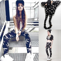 free shipping Original design max HARAJUKU boy london eagle print pattern slim legging 6608  women sweater shirt