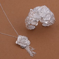 Hot Christmas gift S447 Free Shipping,wholesale 925 rose silver jewelry set,fashion jewelry for women factory prices