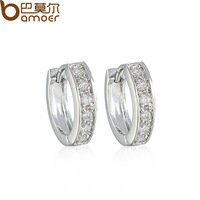 High Quality Round Crystal Stud Earrings for Women Swiss Cubic Zircon Micro CZ Wedding Bamoer Jewelry YIE036