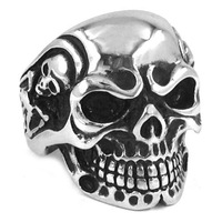 Free Shipping! Retro Vintage Jewelry Gothic Skull Biker Ring Stainless Steel Men Ring Wholesale SWR0082