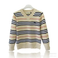 Hot sale boys striped v-neck brand sweater long sleeve children knitted outerwear tops UK design kids spring autumn clothing