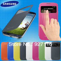 Original S - View flip leather back cover cases open window sleep function battery housing case for samsung galaxy s4 i9500 9500