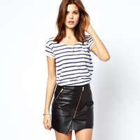 Black haoduoyi PU oblique zipper decoration asymmetrical short skirt bust skirt
