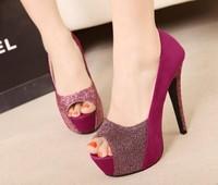 Sweet gentlewomen 2014 spring comfortable charm of ultra high heels color block decoration women's single shoes women work shoes