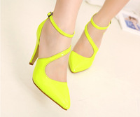 size 34-40 Fashion sexy neon color japanned leather cross-strap high-heeled pointed toe female sandals yellow sandalias shoes