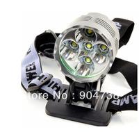 Led Flashlight Led Headlight 7000 Lumens 5 x CREE XM-L T6 LED Headlamp Headlight Rechargeable 6400mah battery