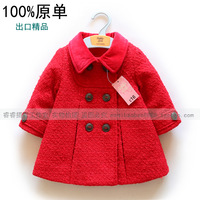 Fashion children's clothing fashion top trench solid color top female child double breasted outerwear