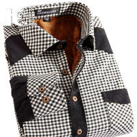 2013 winter thermal shirt sanded plaid plus velvet thermal shirt male long-sleeve shirt