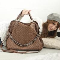 The new 2014 han edition female bag multi-purpose knapsack handbag texture weave side inclined shoulder bag chain bag lady's bag