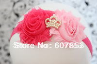 1pcs Baby/Kid's hair band,hot pink &pink double shabby hair flower/pearl Princess Tiara hair flower on Foe Elastic headband