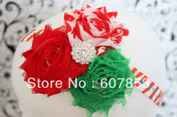1pcs Triple Chiffon Rose Shabby Frayed Flowers headband, Baby Headband, Newborn Headband, Christmas rhinestone flower headband