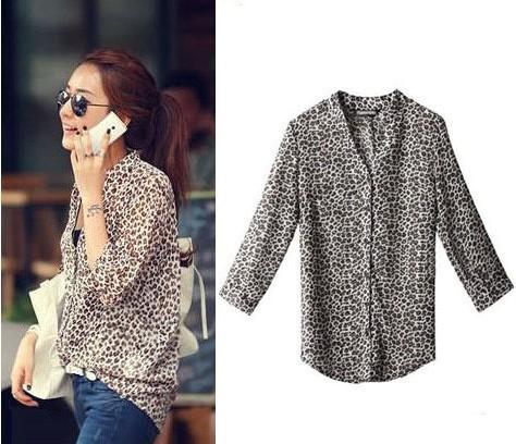 Novo 2013 outono verão estande solto neck luva dos três quartos blusa leopard chiffon camisas protetor solar para mulheres grátis frete(China (Mainland))