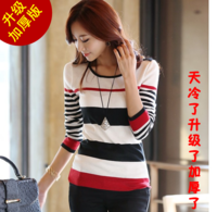 Sweater female long-sleeve stripe sweater 2013 autumn and winter women slim all-match top basic shirt
