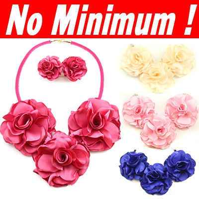 Jewelry sets Designer Bridal Wedding Rose flowers necklaces & pendants with flowers earrings accessories for women 2014 nke-k22(China (Mainland))