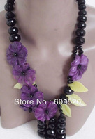 Black Faced Agate Purple Jade Flower Necklace 20""