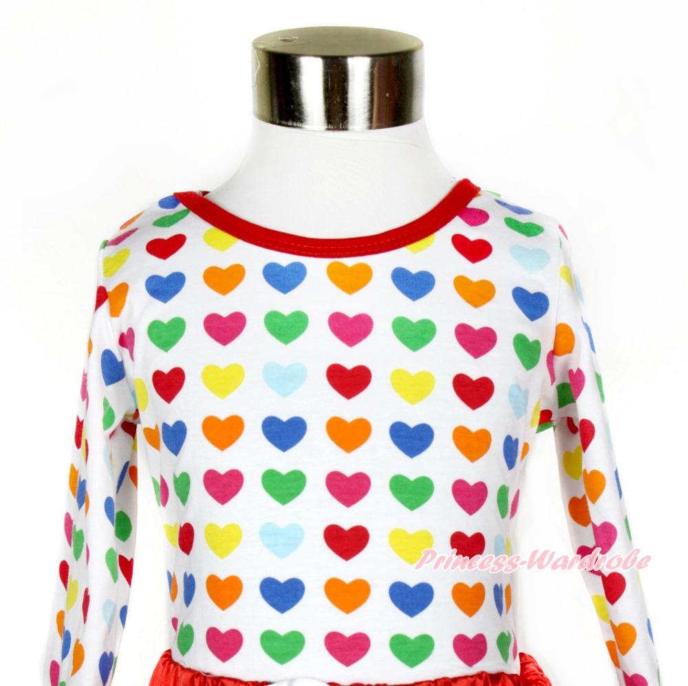 Plain Style Rainbow Heart Long Sleeve Top MATO327(Hong Kong)
