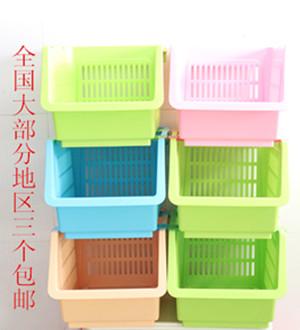 Modern Furniture Japanese style plastic storage box pulley shelf box storage basket finishing frame shelf(China (Mainland))