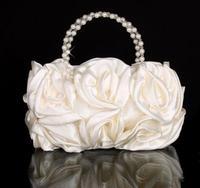 2014 New arrival  Rose Flower Pearl handle bride wedding evening dress bags bridesmaid handbag