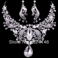 Free shipping clear color rhinestone bridal jewelry sets hotsale necklace+earrings cheap jewelry wedding accessory