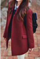 2013 Women Coat Fashion Elegant Noble Wine red all-match wool woolen coat outerwear