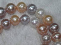 "Natural 9-10MM multicolor round shell pearls loose Beads 15"" AAA+ MY1499"