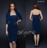 HL-EN1104 Elegant Royal Blue Knee Length Beaded Formal Dresses with Half Sleeve Jacket Custom Made Plus Size