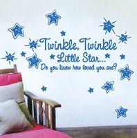 Free Shipping Home Decor Twinkle Twinkle Little Star Children Nursery Vinyl Smiley Sticker Decal